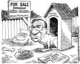 Duke Cunningham cartoon by Mark Thornhill. Sign: For Sale Doghouse Current occupant: San Diego Congressman. Asking: $1 million+